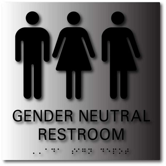 BAL-1171 Gender Neutral Symbols Restroom Signs with Braille Black on Brushed Aluminum