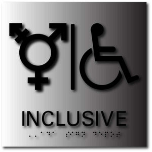 BAL-1172 Inclusive Bathroom Signs with All Genders and Wheelchair Symbols Black on Brushed Aluminum