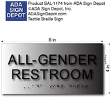 "All Gender Restroom Sign - Brushed Aluminum - 8""x4"" thumbnail"