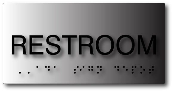 Restroom Sign with Tactile Letters and Braille in Brushed Aluminum