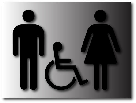 Restroom Gender Symbols Signs - ADA Bathroom Symbol Signs in Brushed Aluminum