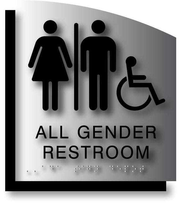 BAL-1179 All Gender Wheelchair Accessible Restroom Signs Black on Brushed Aluminum