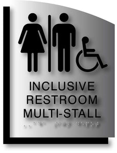 BAL-1180 Wheelchair Accessible Inclusive Restroom Multi-Stall ADA Signs Black on Brushed Aluminum