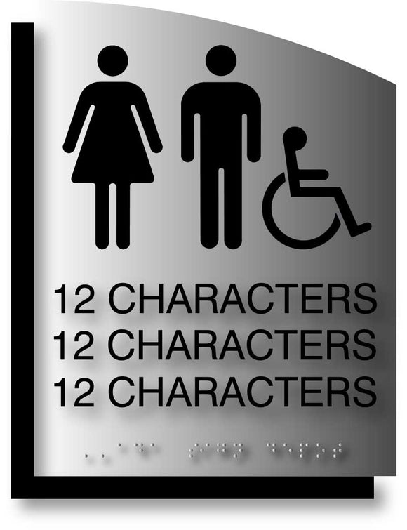 BAL-1182 Custom ADA Signs Curved Brushed Aluminum and Offset Back Plate - Black