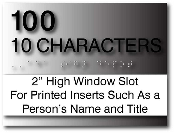 BAL-1183 Custom Room Number and Name Sign with Window Insert - Brushed Aluminum - Black