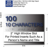 "Custom Room Name ADA Sign - Window Insert - Brushed Aluminum - 8"" x 6"" thumbnail"