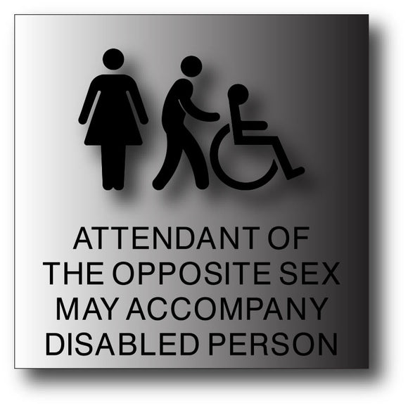 BAL-1014 Attendant of Opposite Sex Brushed Aluminum Restroom Sign - Black
