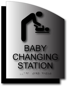 BWL-1001 Baby Changing Station Restroom Sign in Brushed Aluminum with Back Plate Black