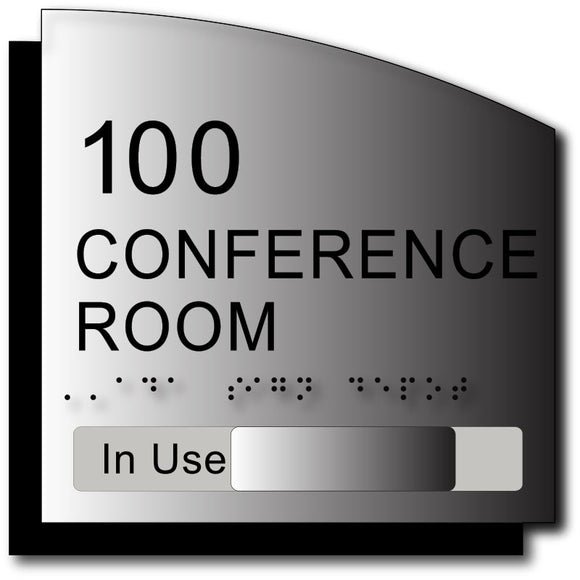 BWL-1002 Custom Room Number and Name Sign with In-Use Slide on Brushed Aluminum - Black