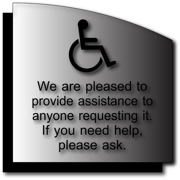 BWL-1007 ADA Wheelchair Customer Assistance Sign - Brushed Aluminum & Back Plate - Black