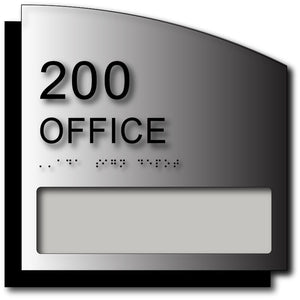 BWL-1010 Custom ADA Room Number Sign with Name Window on Brushed Aluminum - Black