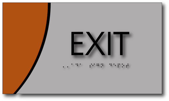Exit Sign on Brushed Aluminum and Wood Laminates with Braille