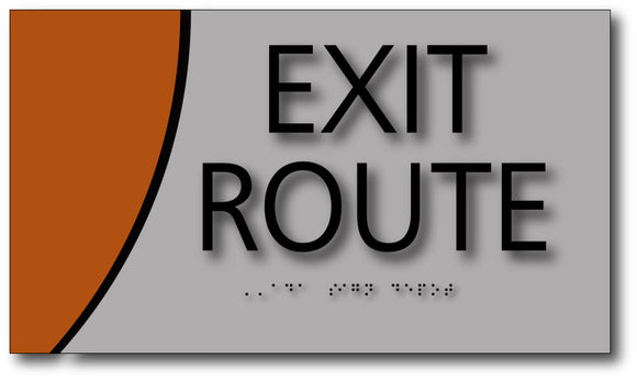Exit Route Sign on Brushed Aluminum and Wood Laminates with Braille