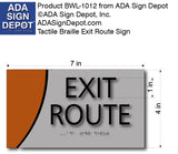 "ADA Exit Route Sign in Brushed Aluminum and Wood - 7"" x 4"" thumbnail"