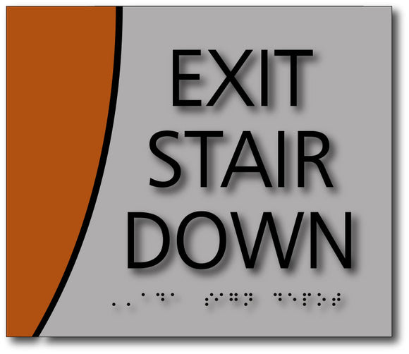 BWL-1013 Exit Stair Down ADA Compliance Sign in Brushed Aluminum and Wood Laminates - Black