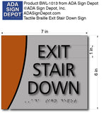 "ADA Exit Stair Down Sign in Brushed Aluminum and Wood - 7"" x 6"" thumbnail"