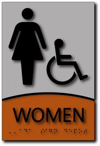 BWL-1015 Womens Wheelchair Accessible Bathroom Sign - Designer Brushed Aluminum - Black