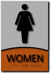 BWL-1016 Women Only Restroom Sign in Modern Brushed Aluminum and Wood Laminates Black