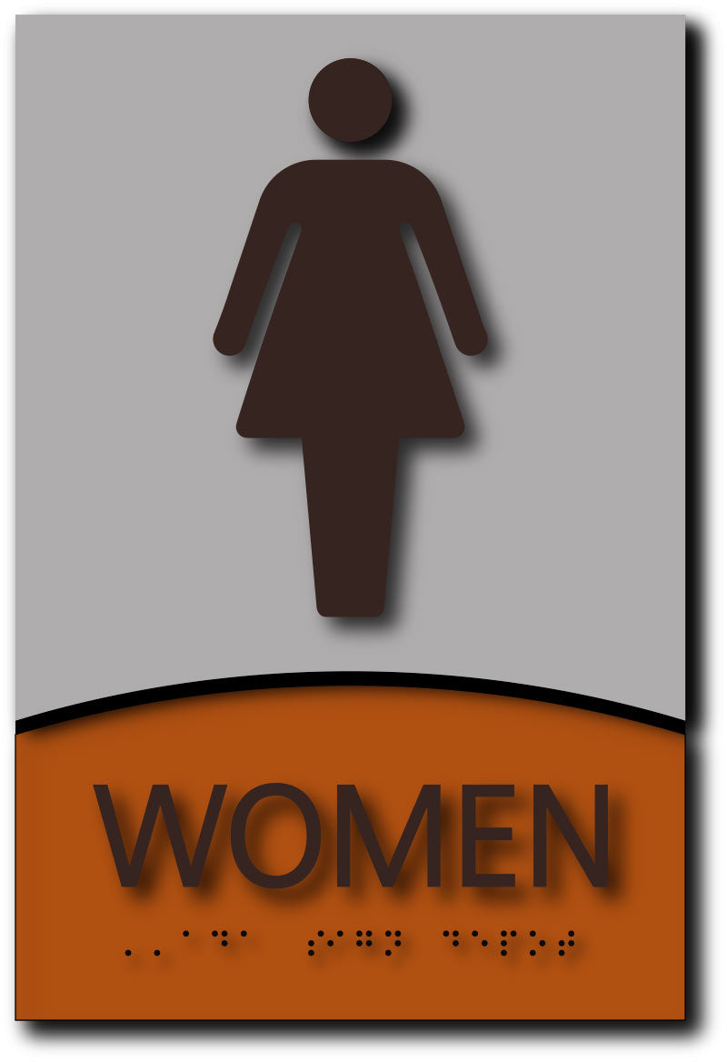 Women Only Restroom Sign In Modern Brushed Aluminum And