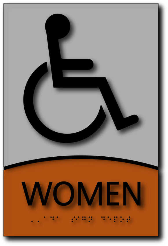BWL-1017 Wheelchair Symbol Women's Restroom Sign in Brushed Aluminum and Wood Black