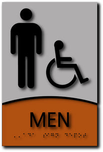 Men Only Wheelchair Accessible Restroom Sign in Brushed Aluminum and Wood