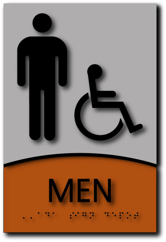 BWL-1018 Men Only Wheelchair Accessible Restroom Sign - Black