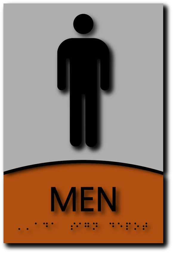 Men Wheelchair Accessible Restroom Sign in Brushed Aluminum and Wood