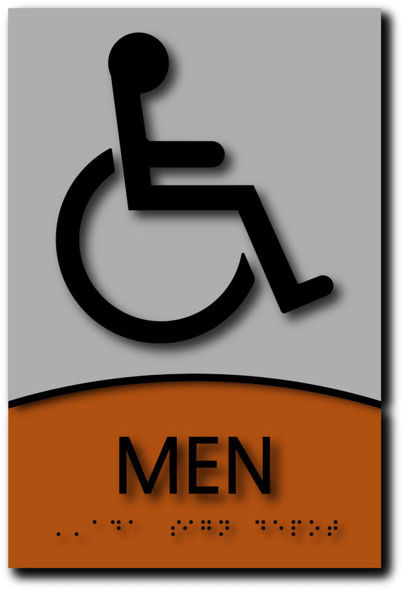 Wheelchair Accessible Mens Bathroom Sign in Brushed Aluminum & Wood