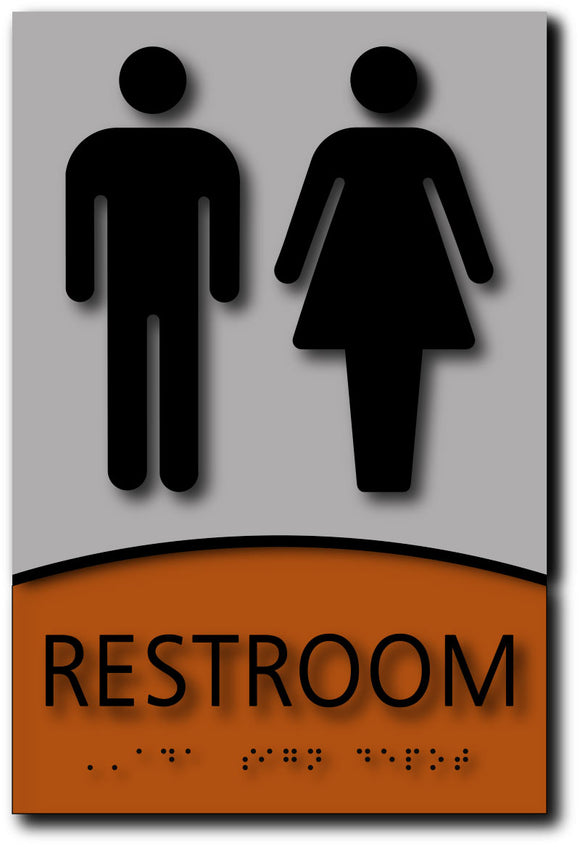 BWL-1021 Unisex Restroom ADA Signs in Brushed Aluminum and Wood Laminates - Black