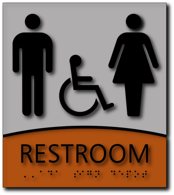BWL-1022 Male, Female, Wheelchair Symbols Restroom Sign - Brushed Aluminum/Wood - Black