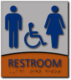 "Unisex Accessible Restroom ADA Sign in Brushed Aluminum & Wood - 8""x9"" thumbnail"