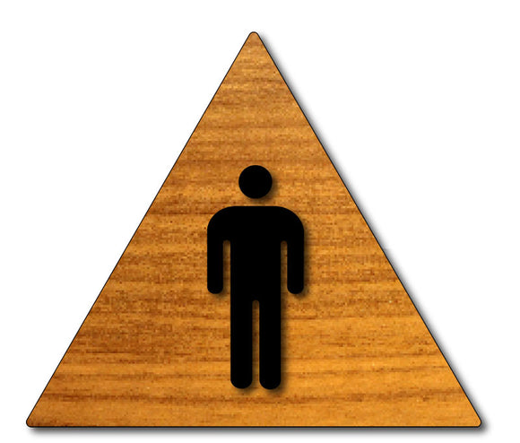 Men's Bathroom Door Sign with Male Gender Symbol in Wood Laminate