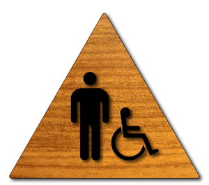 Men's Wheelchair Accessible Bathroom Door Sign in Wood Laminate - Black