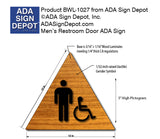 "Mens Accessible Restroom Door Sign in Wood Laminate - 12"" x 12"" thumbnail"
