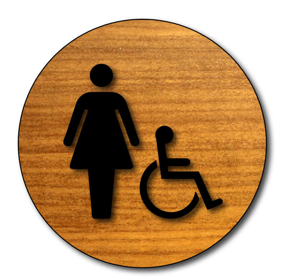 BWL-1028 Women's Wheelchair Accessible Bathroom Door Sign in Wood Laminate - Black