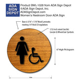 "Womens Accessible Restroom Door Sign in Wood Laminate - 12"" x 12"" thumbnail"