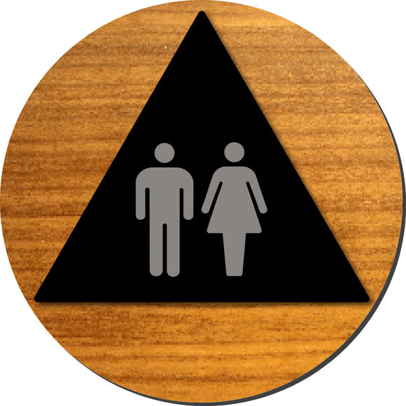 Unisex Bathroom Door ADA Sign - Brushed Aluminum Symbols on Wood Laminates