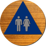 "Unisex Bathroom Door Sign - Brushed Aluminum & Wood - 12"" x 12"" thumbnail"
