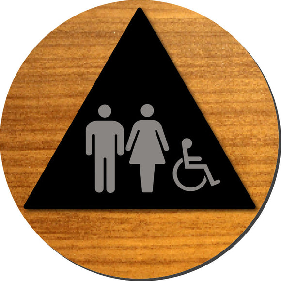 Unisex (Male and Female) Wheelchair Accessible Bathroom Door ADA Sign