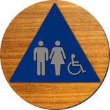 "Unisex Accessible Bathroom Door Sign - Aluminum & Wood - 12"" x 12"" thumbnail"