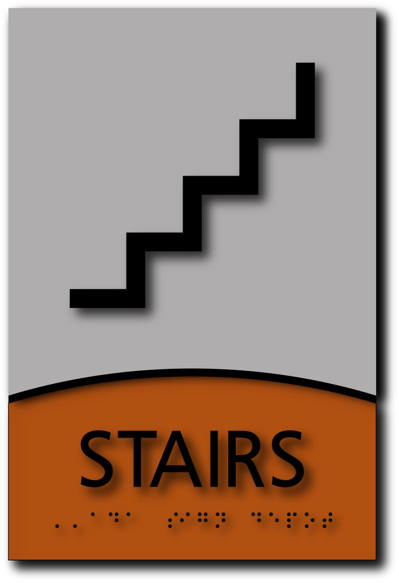 Stairs Symbol Sign In Designer Brushed Aluminum And Wood