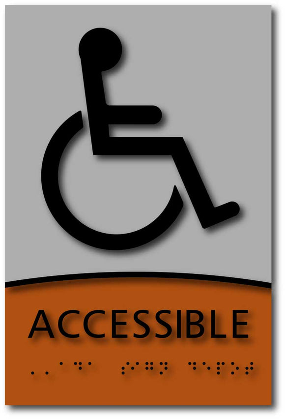 Wheelchair Accessible Symbol in Brushed Aluminum and Wood