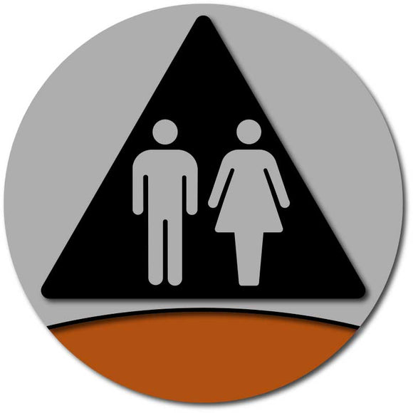 Unisex or Gender Neutral Restroom Door Sign - Modern Brushed Aluminum
