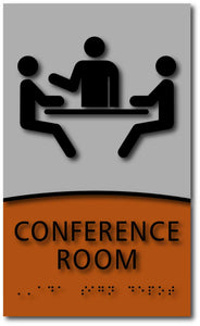 Modern Design ADA Compliant Conference Room Signs in Brushed Aluminum