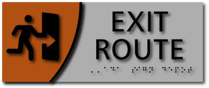 Exit Route Signs with Braille on Brushed Aluminum and Wood Laminates