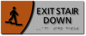 Exit Stair Down Signage with Braille on Brushed Aluminum and Wood Laminates