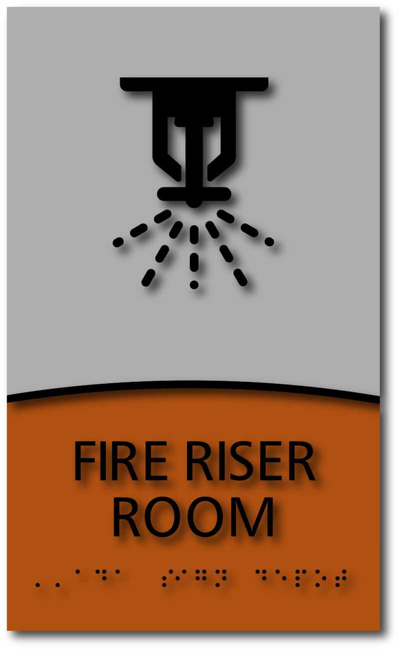 Modern Design ADA Compliant Fire Riser Room Name Signs with Braille