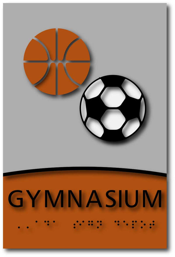 Modern Design ADA Compliant Gymnasium Signs in Brushed Aluminum & Wood