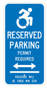 PAR-1030 Connecticut Handicap Parking Sign Permit Required with Double Arrow