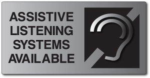 Assistive Listening Systems Available ADA Signs on Brushed Aluminum